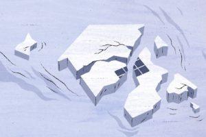 Jäästä muodostunut talo murenee vesivirrassa. Kuvituskuva.